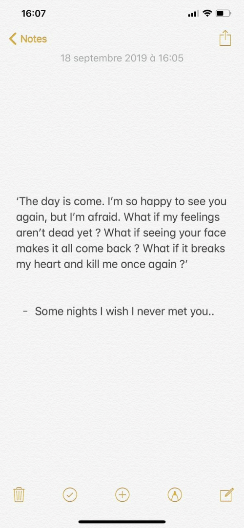 you again: 16:07  Notes  18 septembre 2019 à 16:05  'The day is come. I'm so happy to see you  again, but I'm afraid. What if my feelings  aren't dead yet ? What if seeing your face  makes it all come back? What if it breaks  my heart and kill me once again?  Some nights I wish I never met you..