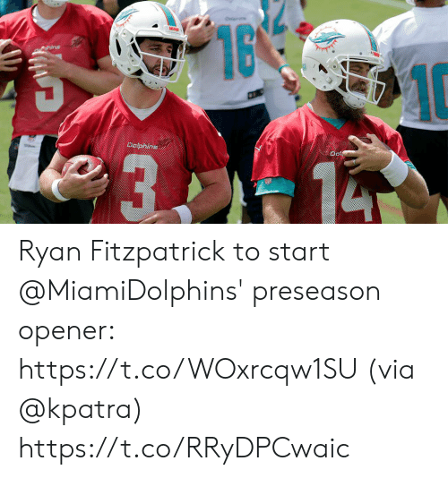 Memes, Ryan Fitzpatrick, and Dolphins: 16  10  MAE  hins  Dolphins Ryan Fitzpatrick to start @MiamiDolphins' preseason opener: https://t.co/WOxrcqw1SU (via @kpatra) https://t.co/RRyDPCwaic