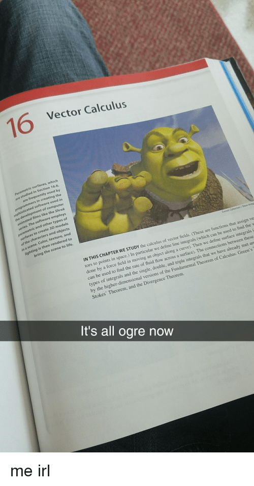 imags: 16  Vector Calculus  surfaces, which  studied in Section 16.6,  are frequently used by  are  programmers in creating the  d in  sophisticated software use  the development of comput  animated films like the Shrek  employs  parametric and other types of  surfaces to create 3D models  of the characters and objects  in a scene. Color, texture, and  lighting is then rendered to  bring the scene to life.  Everett Collection / Glow Imags  IN THIS CHAPTER WE  STUDY the calculus of vector fields. (These are functions that assign ve  space.) In particular we define line integrals (which can be used to find the w  done by a force field in moving an object along a curve). Then we define surface integrals  can be used to find the rate of fluid flow across a surface). The connections between these  types of integrals and the single, double, and triple integrals that we have already met ar  by the higher-dimensional versions of the Fundamental Theorem of Calculus: Green's  Stokes' Theorem, and the Divergence Theorem  It's all ogre now me irl