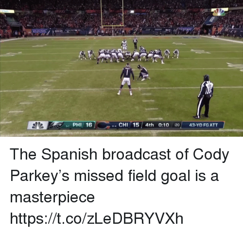 broadcast: 17  PHI 16  4 CHI 15 4th 0:10 :20 43-YD FG ATT  9-7 The Spanish broadcast of Cody Parkey's missed field goal is a masterpiece https://t.co/zLeDBRYVXh