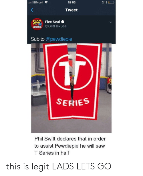 Family, Flexing, and Saw: 18:53  9613 LO  Tweet  A, Flex Seal  BADOLUESE GetFlexSeal  FAMILY OF  Sub to @pewdiepie  SEFIES  Phil Swift declares that in order  to assist Pewdiepie he will saw  T Series in half this is legit LADS LETS GO