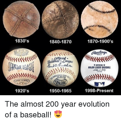 Baseballisms: 1830's  1920's  1870-1900's  1840-1870  MAJOR LEAGUEBASEBALL  1950-1965  1998-Present The almost 200 year evolution of a baseball! 😍