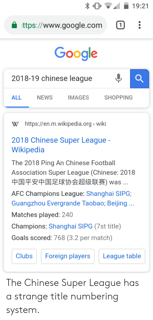 1921 Ttpswwwgooglecom 1 Google 2018 19 Chinese League All
