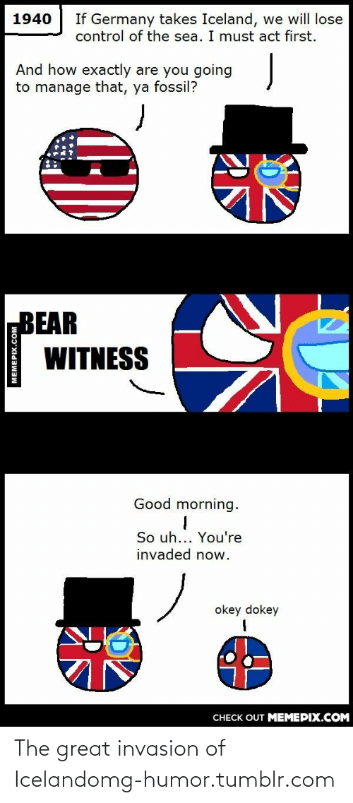 Bear Witness: 1940  If Germany takes Iceland, we will lose  control of the sea. I must act first.  And how exactly are you going  to manage that, ya fossil?  BEAR  WITNESS  Good morning.  So uh... You're  invaded now.  okey dokey  CHECK OUT MEMEPIX.COM  MEMEPIX.COM The great invasion of Icelandomg-humor.tumblr.com
