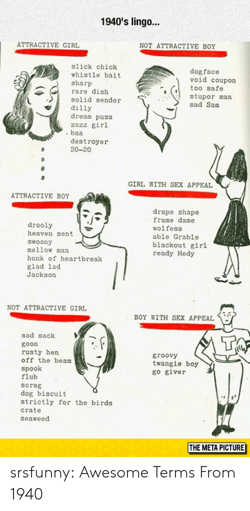 sex appeal: 1940's lingo...  ATTRACTIVE GIRL  NOT ATTRACTIVE BOY  slick chick  whistle bait  sharp  rare dish  solid sender  dilly  dream puss  zazz girl  dogface  void coupon  too safe  stupor man  sad Sanm  destroyer  20-20  GIRL WITH SEX APPEAL  ATTRACTIVE BOY  drooly  heaven sent  woony  mellow man  hunk of heartbreak  glad lad  Jackson  drape shape  frame dame  wolfess  able Grable  blackout girl  ready Hedy  NOT ATTRACTIVE GIRL  BOY WITH SEX APPEAL  sad sack  goon  rusty hen  off the beam  Spook  flub  scrag  dog biscuit  strictly for the birds  crate  seaweed  groovy  twangie boy  go giver  THE META PICTURE srsfunny:  Awesome Terms From 1940