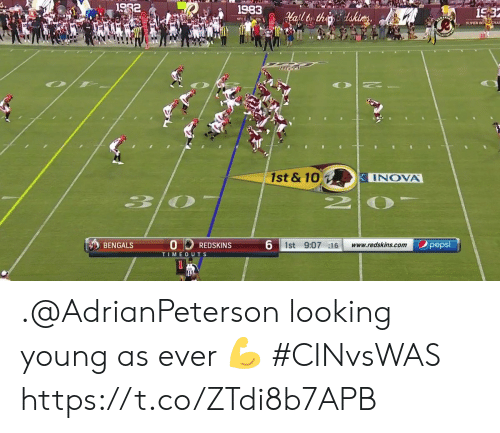 Bengals: 1982  1983  15:3  afltor thedakices  NFCC ON  SUPER BO CHA  10  1st & 10  INOVA  30  6 1st 9:07 16  pepsi  BENGALS  www.redskins.com  REDSKINS  TIMEOUTS .@AdrianPeterson looking young as ever 💪  #CINvsWAS https://t.co/ZTdi8b7APB