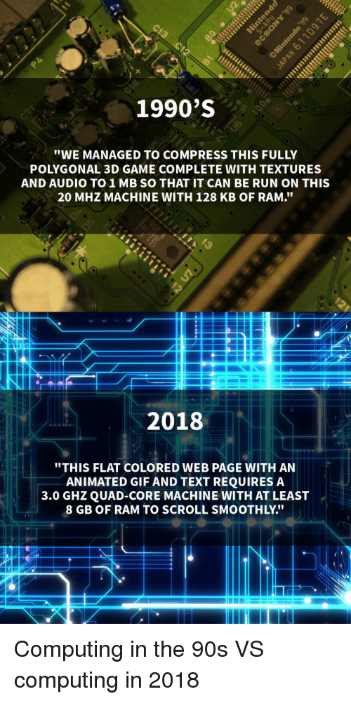 """Gif, Run, and Game: 1990'S  """"WE MANAGED TO COMPRESS THIS FULLY  POLYGONAL 3D GAME COMPLETE WITH TEXTURES  AND AUDIO TO1MB SO THAT IT CAN BE RUN ON THIS  20 MHZ MACHINE WITH 128 KB OF RAM.""""  2018  """"THIS FLAT COLORED WEB PAGE WITH AN  ANIMATED GIF AND TEXT REQUIRES A  3.0 GHZQUAD-CORE MACHINE WITH AT LEAST  8 GB OF RAM TO SCROLL SMOOTHLY."""" Computing in the 90s VS computing in 2018"""