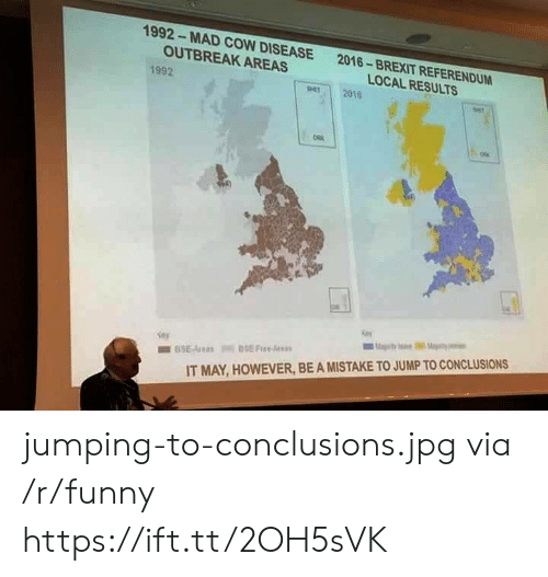 Jump To Conclusions: 1992- MAD COW DISEASE  OUTBREAK AREAS  2016-BREXIT REFERENDUM  LOCAL RESULTS  1992  per 2010  IT MAY, HOWEVER, BE A MISTAKE TO JUMP TO CONCLUSIONS jumping-to-conclusions.jpg via /r/funny https://ift.tt/2OH5sVK