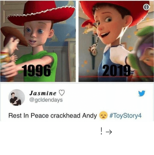 jasmine: 1996  20  Jasmine ▽  @gcldendays  Rest In Peace crackhead Andy  𝘍𝘰𝘭𝘭𝘰𝘸 𝘮𝘺 𝘗𝘪𝘯𝘵𝘦𝘳𝘦𝘴𝘵! → 𝘤𝘩𝘦𝘳𝘳𝘺𝘩𝘢𝘪𝘳𝘦𝘥