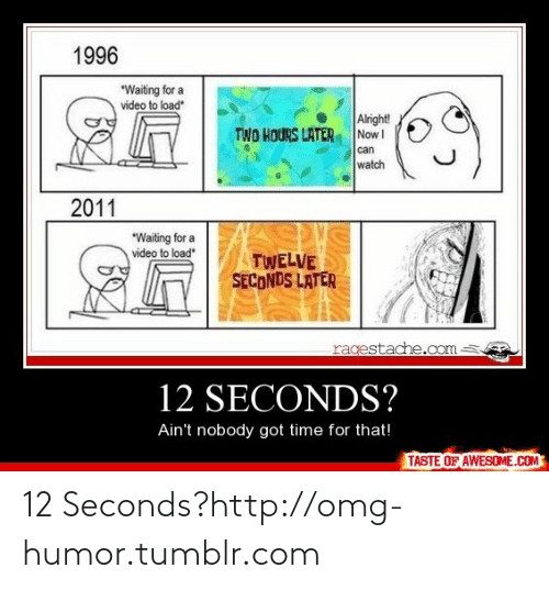 "Nobody Got: 1996  ""Waiting for a  video to load  Alright!  Now I  TWO HOURS LATER  can  watch  2011  *Waiting for a  video to load  TWELVE  SECONDS LATER  ragestache.com  12 SECONDS?  Ain't nobody got time for that!  TASTE OF AWESOME.COM 12 Seconds?http://omg-humor.tumblr.com"