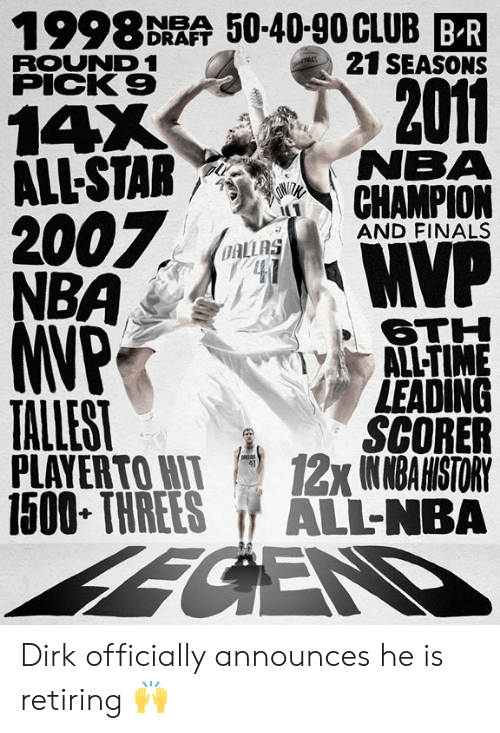 All Star: 1998 DRAA 50-40-90CLUB BR  21 SEASONS  ROUND 1  PICK 9  2011  14X  ALL-STAR NEMA  7  AND FINALS  OAL  6TH  ALL-TIME  LEADING  SCORER  PLAYERTOWI 12x1NMBAHISTORY  1500 THREES ALL-NBA  TALLEST Dirk officially announces he is retiring 🙌