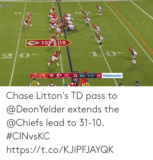 Extends: 1ST 10  2  EB CIN  05 ticketmaster  KC 24 3RD 1:11  10 Chase Litton's TD pass to @DeonYelder extends the @Chiefs lead to 31-10. #CINvsKC https://t.co/KJiPFJAYQK