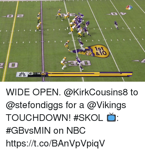 Memes, Vikings, and 🤖: 1st  &10  2nd 11 WIDE OPEN. @KirkCousins8 to @stefondiggs for a @Vikings TOUCHDOWN! #SKOL  📺: #GBvsMIN on NBC https://t.co/BAnVpVpiqV