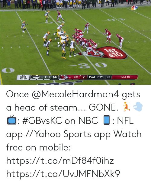 steam: 1st  &10  G  GB 14  КС  2nd 6:21  1st & 10  :16  6-1  5-2 Once @MecoleHardman4 gets a head of steam...  GONE. 🏃💨  📺: #GBvsKC on NBC 📱: NFL app // Yahoo Sports app Watch free on mobile: https://t.co/mDf84f0ihz https://t.co/UvJMFNbXk9