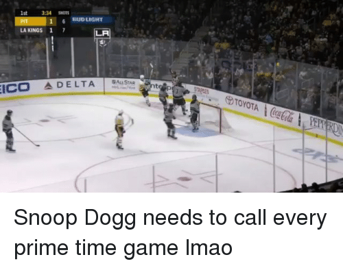 Bud Light: 1st  3:34 SHOTS  16 BUD LIGHT  LA KINGS 1 7  LA  ICO 소DELTA ALLSTAR Snoop Dogg needs to call every prime time game lmao
