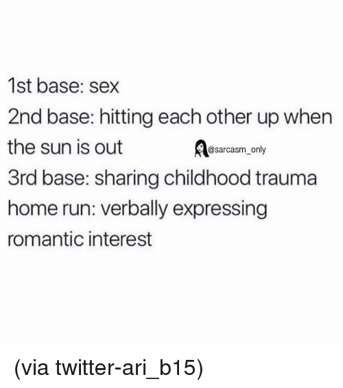 Funny, Memes, and Run: 1st base: sex  2nd base: hitting each other up when  the sun is out  3rd base: sharing childhood trauma  home run: verbally expressing  romantic interest  @sarcasm_only (via twitter-ari_b15)