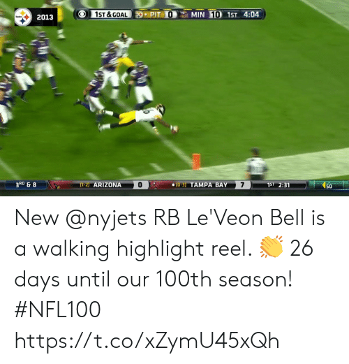Arizona: 1ST &GOAL  MIN 10 1ST 4:04  PIT O  2013  3RD & 8  7  (1-2) ARIZONA  1ST 2:31  (0-3) TAMPA BAY  50 New @nyjets RB Le'Veon Bell is a walking highlight reel. 👏  26 days until our 100th season! #NFL100 https://t.co/xZymU45xQh
