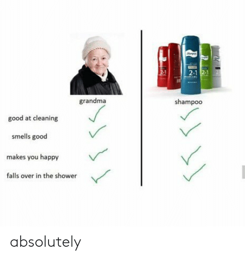 Grandma, Shower, and Good: 2-1  grandma  shampoo  good at cleaning  smells good  makes you happy  falls over in the shower absolutely