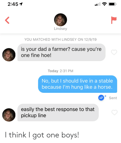 Dad, Hoe, and Best: 2:45 1  Lindsey  YOU MATCHED WITH LINDSEY ON 12/9/19  is your dad a farmer? cause you're  one fine hoe!  Today 2:31 PM  No, but I should live in a stable  because l'm hung like a horse.  Sent  easily the best response to that  pickup line I think I got one boys!