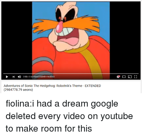 A Dream, Google, and Target: )  2:53 / 2.61466622004E+19:00:01  Adventures of Sonic The Hedgehog: Robotnik's Theme - EXTENDED  (2984778.79 aeons) fiolina:i had a dream google deleted every video on youtube to make room for this