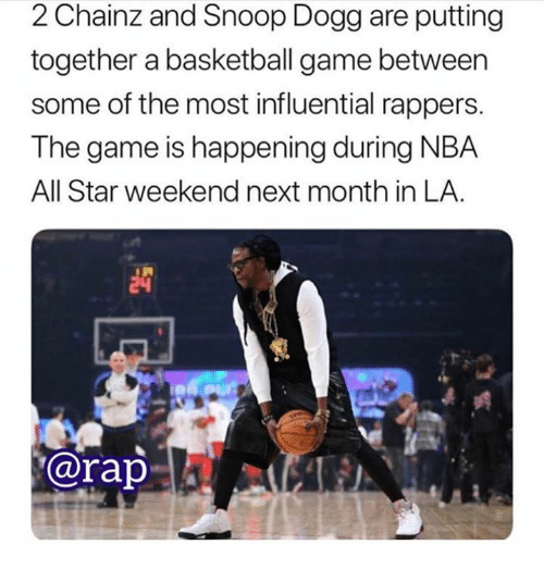 nba all star weekend: 2 Chainz and Snoop Dogg are putting  together a basketball game between  some of the most influential rappers.  The game is happening during NBA  All Star weekend next month in LA  @rap. | ζǐ