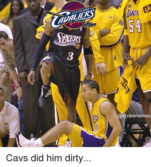 cavs: 2  CLEVEL AND  AUALIERS  AKE  Akik  54  ERS  @lit.nbamemes Cavs did him dirty...