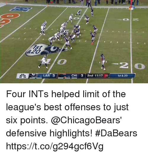 chicagobears: 2  I LAR 3  e4 CHI 3 2nd 11:17 :03  1st & 20 Four INTs helped limit of the league's best offenses to just six points.   @ChicagoBears' defensive highlights! #DaBears https://t.co/g294gcf6Vg