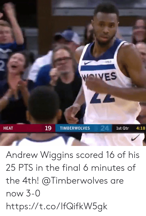 wiggins: 2  itbit  WOLVES  47  24 1st Qtr  19  НЕАТ  TIMBERWOLVES  4:18 Andrew Wiggins scored 16 of his 25 PTS in the final 6 minutes of the 4th!   @Timberwolves are now 3-0  https://t.co/lfQifkW5gk