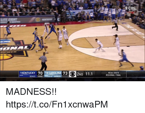 Kentucky, Ncaa, and Madness: 2 KENTUCKY 70 IN CAROLINA 73  2ND 11.1  8 BONUS+  BONUS  POSS FOU  NCAA SOUTH  REGIONAL FINAL  OCB MADNESS!! https://t.co/Fn1xcnwaPM