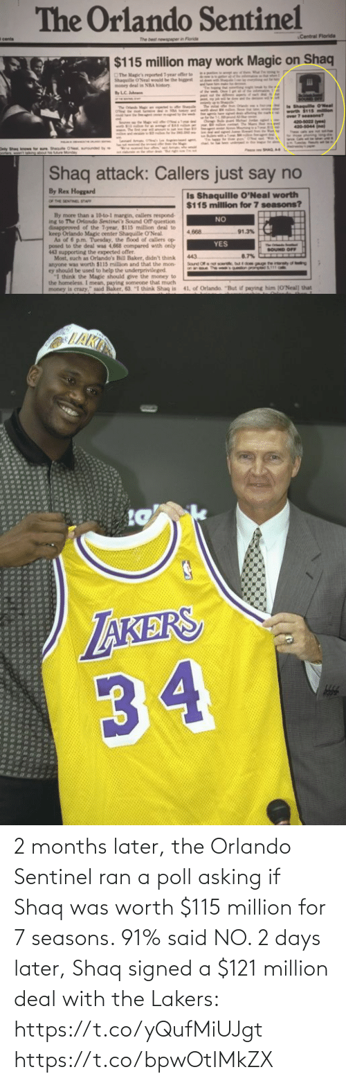 deal: 2 months later, the Orlando Sentinel ran a poll asking if Shaq was worth $115 million for 7 seasons. 91% said NO.   2 days later, Shaq signed a $121 million deal with the Lakers: https://t.co/yQufMiUJgt https://t.co/bpwOtIMkZX