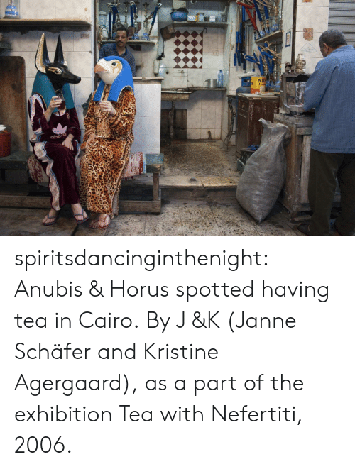 Nei: 2  NEI spiritsdancinginthenight:  Anubis & Horus spotted having tea in Cairo. By J &K (Janne Schäfer and Kristine Agergaard), as a part of the exhibition Tea with Nefertiti, 2006.