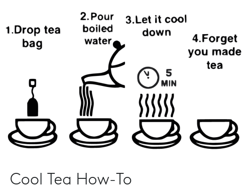 Cool, How To, and Water: 2. Pour  3.Let it cool  boiled  1.Drop tea  bag  down  4.Forget  water,  you made  tea  MIN  SSSSS Cool Tea How-To