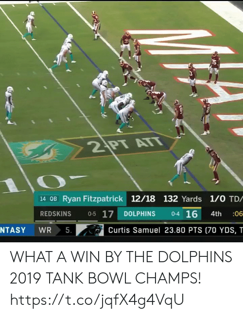 champs: 2 PT ATT  14 OB Ryan Fitzpatrick 12/18 132 Yards 1/0 TD/  0-4 16  0-5 17  REDSKINS  DOLPHINS  :06  4th  5.  NTASY  WR  Curtis Samuel 23.80 PTS (70 YDS, T WHAT A WIN BY THE DOLPHINS  2019 TANK BOWL CHAMPS!  https://t.co/jqfX4g4VqU
