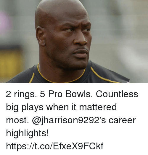 Memes, Pro, and 🤖: 2 rings. 5 Pro Bowls. Countless big plays when it mattered most.  @jharrison9292's career highlights! https://t.co/EfxeX9FCkf