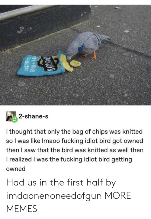 Shane: 2-shane-s  I thought that only the bag of chips was knitted  so I was like Imaoo fucking idiot bird got owned  then I saw that the bird was knitted as well then  I realized I was the fucking idiot bird getting  owned Had us in the first half by imdaonenoneedofgun MORE MEMES