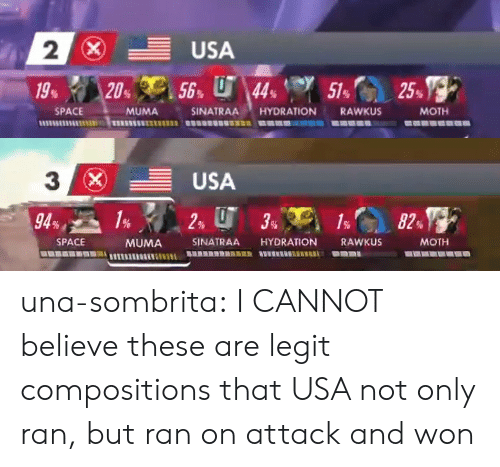 Hydration: 2  SPACE  MUMA  SINATRAA HYDRATION RAWKUS  MOTH   3  (x)  -USA  SPACE  MUMA SINATRAA HYDRATION RAWKUS  MOTH una-sombrita: I CANNOT believe these are legit compositions that USA not only ran, but ran on attack and won