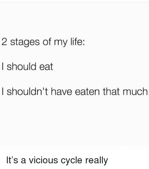 Vicious: 2 stages of my life:  I should eat  I shouldn't have eaten that much It's a vicious cycle really