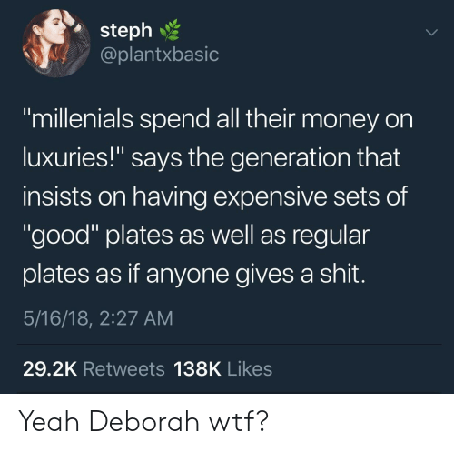 "Money, Shit, and Wtf: 2  steph  @plantxbasic  ""millenials spend all their money on  luxuries!"" says the generation that  insists on having expensive sets of  ""good"" plates as well as regular  plates as if anyone gives a shit  5/16/18, 2:27 AM  29.2K Retweets 138K Likes Yeah Deborah wtf?"