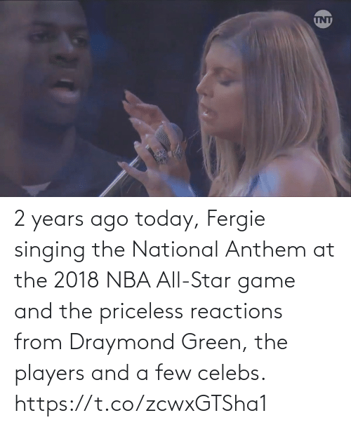 nba all star: 2 years ago today, Fergie singing the National Anthem at the 2018 NBA All-Star game and the priceless reactions from Draymond Green, the players and a few celebs.   https://t.co/zcwxGTSha1