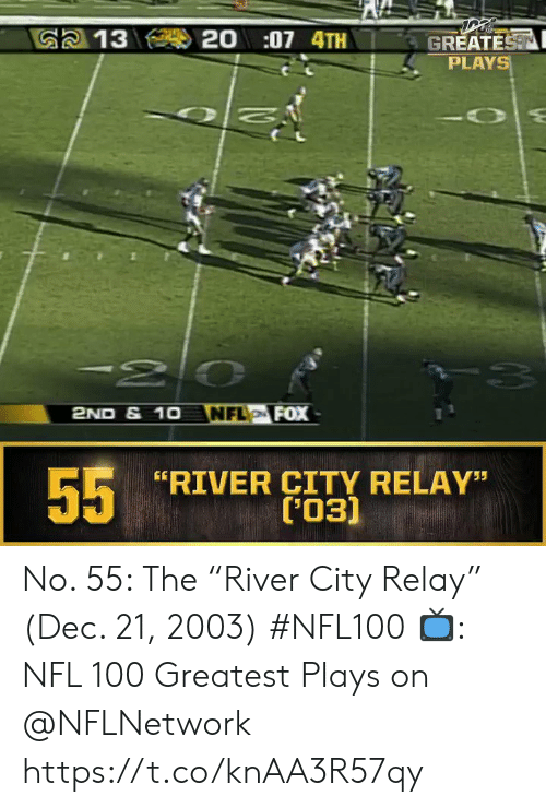 "Memes, Nfl, and 🤖: 20:07 4TH  G2 13  GREATEST  PLAYS  -20  NFL FOX  2ND & 1O  55  RIVER CITY RELAY""  ('03) No. 55: The ""River City Relay"" (Dec. 21, 2003) #NFL100  ?: NFL 100 Greatest Plays on @NFLNetwork https://t.co/knAA3R57qy"