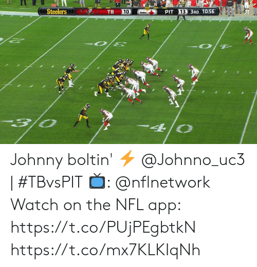 Memes, Nfl, and Steelers: 20  AIP  Steelers  TB  13 3RD 10:56  10  PIT  Steelers Johnny boltin' ⚡️  @Johnno_uc3 | #TBvsPIT  📺: @nflnetwork Watch on the NFL app: https://t.co/PUjPEgbtkN https://t.co/mx7KLKIqNh