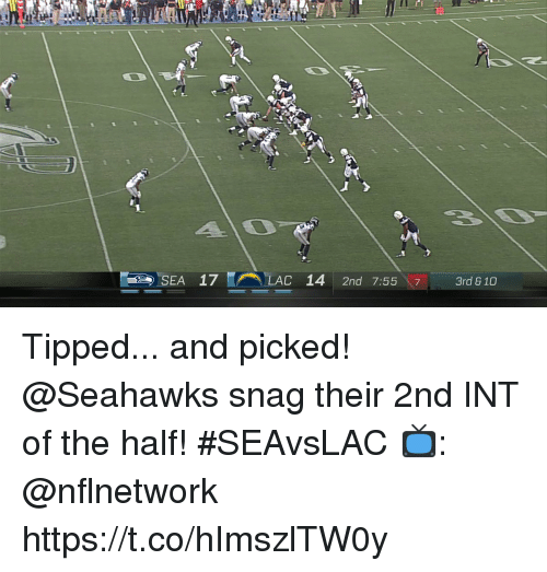 Inting: 20  C-  SEA  17  (A\ELAC  14  2nd  7:5517-3rd 810 Tipped... and picked!  @Seahawks snag their 2nd INT of the half! #SEAvsLAC  📺: @nflnetwork https://t.co/hImszlTW0y
