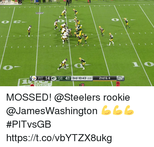Memes, Steelers, and 🤖: 20  PIT 14 GGB 41  3rd 10:43:11  2nd & 4 MOSSED!  @Steelers rookie @JamesWashington 💪💪💪 #PITvsGB https://t.co/vbYTZX8ukg