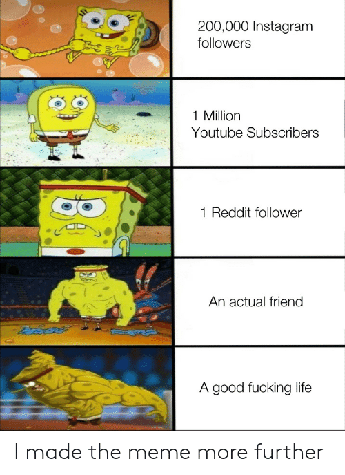 Fucking, Instagram, and Life: 200,000 Instagram  followers  1 Million  Youtube Subscribers  Reddit follower  An actual friend  A good fucking life I made the meme more further