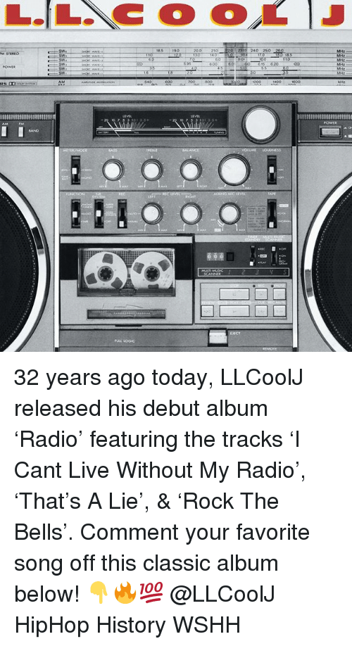 Bailey Jay, Memes, and Radio: 200 210 20 2310 240 250 260  170  Sw  mmmRI 32 years ago today, LLCoolJ released his debut album 'Radio' featuring the tracks 'I Cant Live Without My Radio', 'That's A Lie', & 'Rock The Bells'. Comment your favorite song off this classic album below! 👇🔥💯 @LLCoolJ HipHop History WSHH