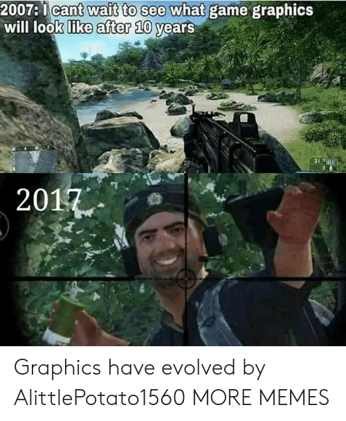 Gamely: 2007:1ca  will look like  e what game graphics  vears  after 10  2017 Graphics have evolved by AlittlePotato1560 MORE MEMES