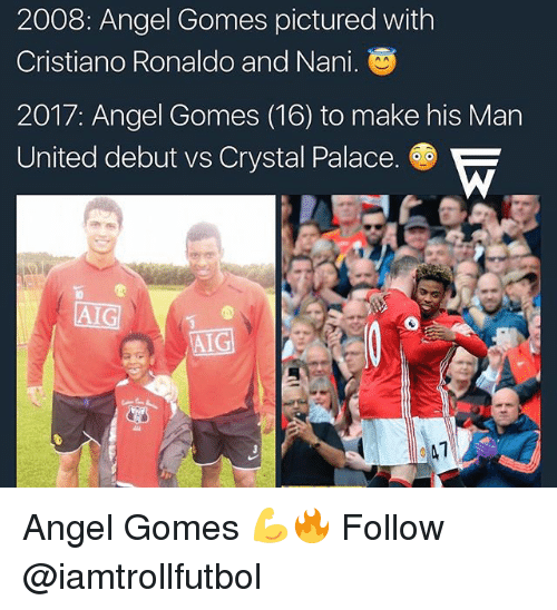 crystal palace: 2008: Angel Gomes pictured with  Cristiano Ronaldo and Nani.  2017: Angel Gomes (16) to make his Man  United debut vs Crystal Palace.  AG Angel Gomes 💪🔥 Follow @iamtrollfutbol