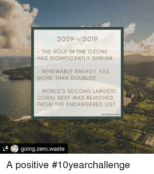 Energy, Zero, and List: 20092019  THE HOLE IN THE OZONE  HAS SIGNIFICANTLY SHRUNK  RENEWABLE ENERGY HAS  MORE THAN DOUBLED  WORLD'S SECOND LARGEST  CORAL REEF WAS REMOVED  FROM THE ENDANGERED LIST  sgoing.zero.woste  .9 going.zero.waste A positive #10yearchallenge