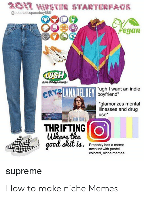 "Memes Supreme: 201 HIPSTER STARTERPACK  @apatheticspaceboy666  egan  LUSH  ""ugh I want an indie  boyfriend""  glamorizes mental  illnesses and drug  use*  THRIFTING  Where the  LA.  Probably has a meme  account with pastel  colored, niche memes  supreme How to make niche Memes"