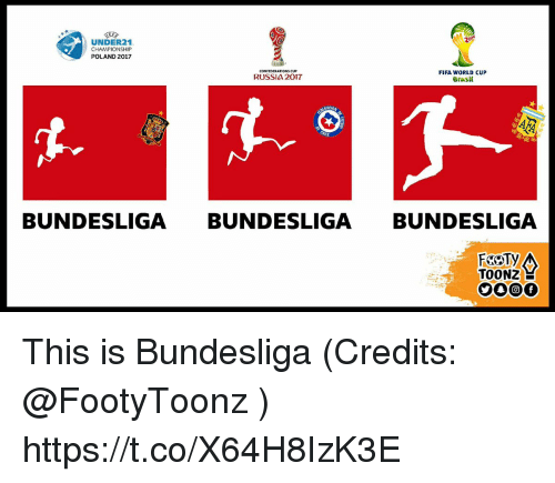 Fifa, Memes, and World Cup: 201  UNDER21  CHAMPIONSHIP  POLAND 2017  CONFEDERATIONS CUP  FIFA WORLD CUP  RUSSIA 2017  erasit  Grasil  BUNDESLIGA BUNDESLIGA BUNDESLIGA  FROTy  TOONZ E This is Bundesliga  (Credits: @FootyToonz ) https://t.co/X64H8IzK3E